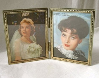 1950's Vintage Picture Frames Double Gold Metal Movie Stars
