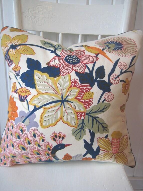 Pair Of Pottery Barn Bettina Floral Bird Peacock Pillow Covers