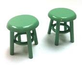miniature stool/ side table - Arsenic green