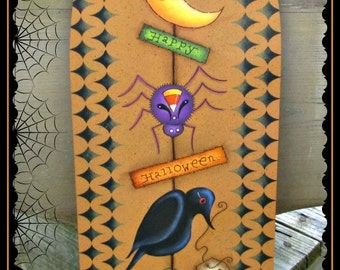 E PATTERN - Halloween Make Do - Pumpkin, Crow, Spider, Moon, Star - Designed & Painted by Sharon Bond - FAAP
