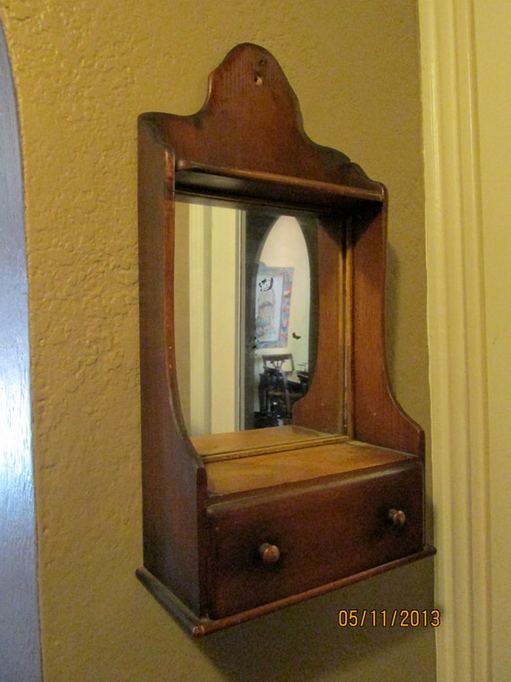 Vintage entryway mirror shelf wood mirror and by lipmeister for Hallway mirror and shelf