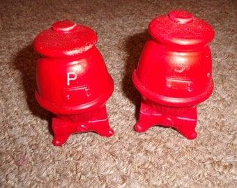 vintage salt pepper shaker red coal burning stone
