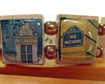 Francophile Bracelet -- Scrabble Bracelet  Featuring Images of French History, Culture, Style