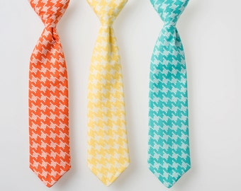 Little Boy Tie - Coral, Yellow, or Teal Houndstooth - Baby Boy Easter Tie