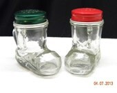 Salt and Pepper Shakers glass, holiday dishes, boots rv