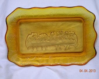 Vintage Last Supper Serving Plate, Amber Glass