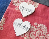 1.8 Inch Hand Punched Scalloped Heart 24 Paper Shapes Vintage Sheet Music Organ Page Handmade