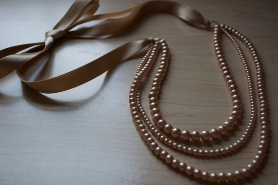 SALE Gold Pearl and Ribbon Necklace