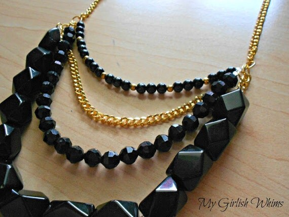 SALE Black and Gold Chain Bib Necklace