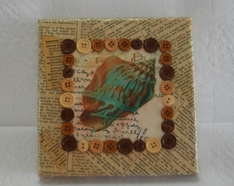 Book Page and Buttons Art, Handmade Shabby Beach Inspired Mixed Media Collage Wall Art Canvas