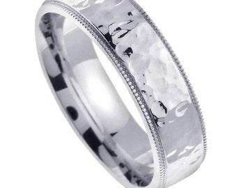 10MM Hammered 14 KT White Gold Mens Wedding Ring Band Comfort
