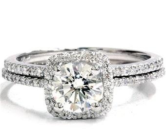 SI 1.25CT Pave Halo Petite Diamond Engagement Ring Set 14K White Gold