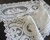 Reserved for Lyudmila  Pair Antique Figural Point De Venise Needle Lace Runners 9 Feet Long