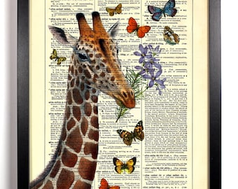 Giraffe and His Friends, Home, Kitchen, Nursery, Bath, Office Decor, Wedding Gift, Eco Friendly Book Art, Vintage Dictionary Print 8 x 10 in
