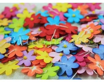 100 Mixed Rainbow color Mini flat Handmade Scrapbook Paper Flowers  Code 427