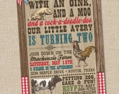 Old MacDonald, Farm Invitation, Farm Invite, Vintage Petting Zoo Invitation, PRINTABLE, Petting Zoo Birthday, Barnyard Birthday