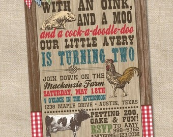 Farm Birthday Invitations, Farm Party Invitation, Barnyard Party, Farm Animal Invitation, Petting Zoo Birthday, Farm Animals, PRINTABLE