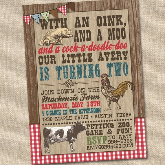 Farm Birthday Invitations Farm Party Invitation Barnyard