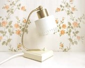Vintage Midcentury Table Light. White Metal Shade, Golden Detail. - ProjectSarafan