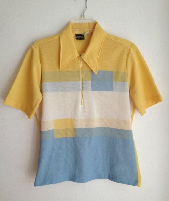 60s Color Block Shirt / Medium Men / Retro Zip Neck Shirt  / 60s 70s Men / Casual Mad Men Vintage