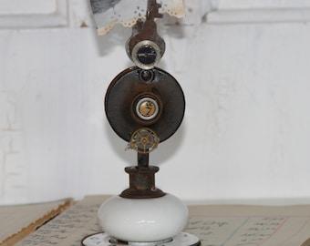 Vintage Porcelain Door Knob Photo Holder / Steampunk Photo Holder Industrial decor Shabby Chic