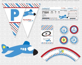 Party Printable Airplane Party Theme Basic Package - Personalized Printable