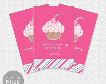 Cupcake Party Thank You Tags, Printable file, Personalized