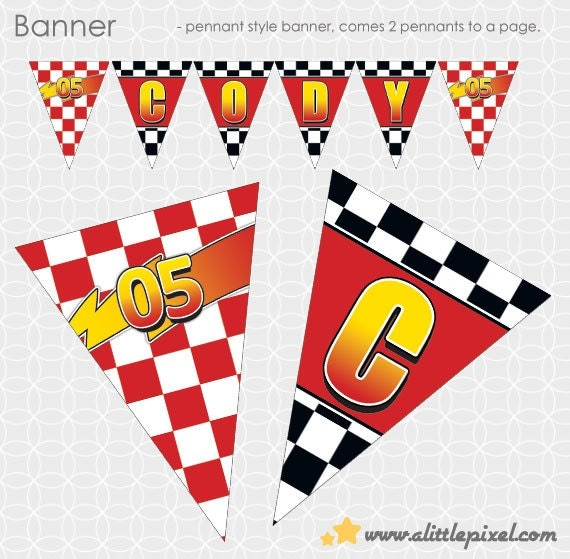 Party Printable Lightening McQueen-ish Party Theme Banner - Personalized Printable with BONUS