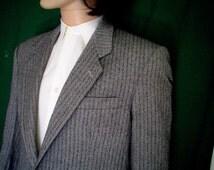 80s 44R Bosa Tweed Herringbone Men's Two Button Sport Coat Jacket Black white