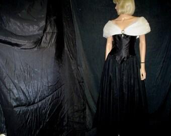 90s M 9 10 Satin Tulle Net Chiffon Princess Dress Prom Bridesmaid Evening Gown Black White
