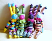 Mister rabbit - stripe sock bunny - stuffed puppet - Soft and cuddling plush bunny - CHOOSE YOUR SOCK!