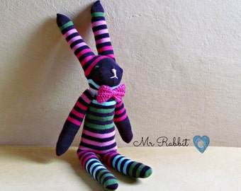 Mister rabbit  -  purple stripes sock puppet - Soft and cuddling plushies - Easter gift - CHOOSE YOUR SOCK!