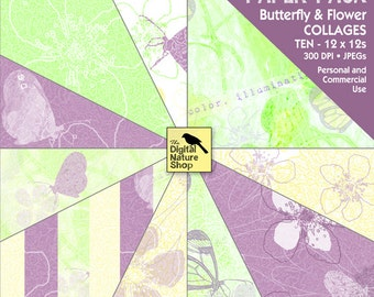 Butterfly and Flower - Digital Paper Pack - COLLAGE - INSTANT DOWNLOAD for Invites, Scrapbooking, Cards, Collage, Invites, Crafts, Decoupage