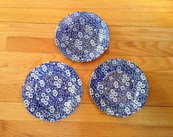 Calico Blue Staffordshire England Salad Plates