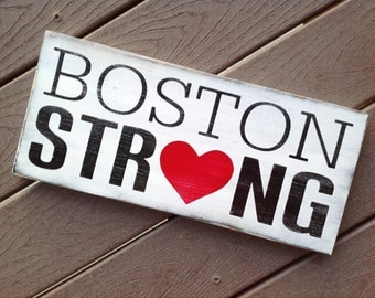 Boston Strong Typography Art Sign- Subway Art - Distressed