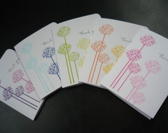 Thank You Cards Set of 5, Allium Flowers, Wedding Thank You Notes, Baby Shower Thank You Greeting Cards