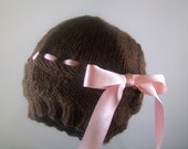 Knitted Newborn Hat, Hearts & Bows, Brown