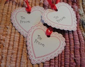 Valentine Scallop Heart Tags  Set of 8