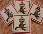 Sock Monkey Mini Cards  Set of 4