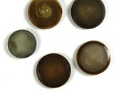 5 Vintage focal buttons, antique buttons in different designs