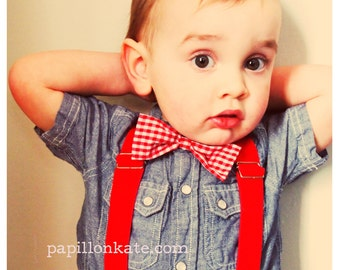Baby Toddler Kid Bow Tie or Hair Bow Red and White Gingham Checkered