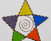 Stained Glass Suncatcher - Multi-color Star, Rainbow of Color,  Copper Wire Scroll