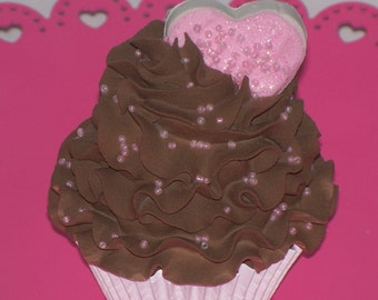 Heart Cookie Valentine Cupcake with Pink Sprinkles for Photo Props, Valentine Cupcake Decor Displays and Accents