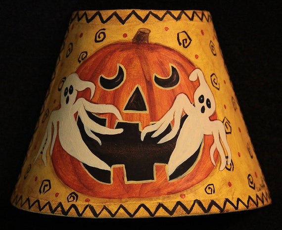 Original Hand Painted Halloween Folk Art  Night Light with Jack-o- lantern, ghosts. HAGUILD