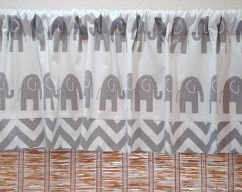 Funky Modern Elephant Trim/Chevron Children/Nursery Curtain Valance 52x12 52x14 52X16 or 52X18