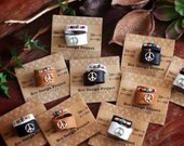 BLR-02, A set of an adjustable peace sign leather ring and a beaded ring,black,brown,white,Native American inspired
