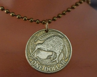 NEW ZEALAND  coin necklace . kiwi bird necklace. flightless bird. bird lover . nature gift. Cecile Stewart  No.001664