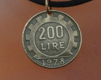 ITALY Gift. Italy jewelry. italian jewelry. lire charm.  mens necklace. mens jewelry. mens coin necklace. 200 pendant.  NO.00166
