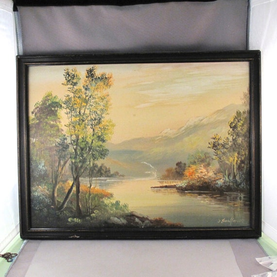 ANTIQUE OIL PAINTING. J. Smallwood. Canada. mountains. signed. vintage. partsforyou. No.001160