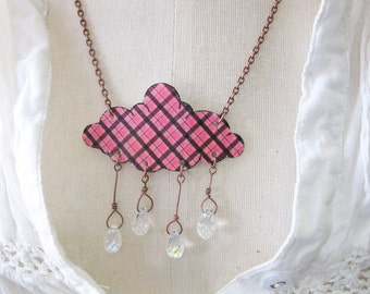 Tartan Plaid Rain Drops Pink and Brown Necklace Gift Shower Fashion Cloud and Crystal Raindrops Jewelry